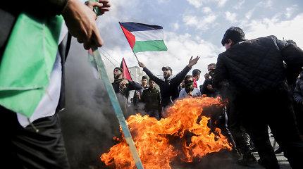 Gazoje palestiniečiai protestuoja prieš D.Trumpo planą Viduriniams Rytams