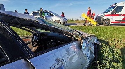 """Prie Panevėžio """"Peugeot"""" vairuotoja nuo kelio nubloškė """"Audi"""": sužeisti du žmonės"""