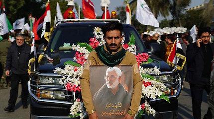 Gedulo procesija Bagdade Irano generolo Qasemui Soleimani ir Irako sukarintų pajėgų vadui Abu Mahdi al Muhandisui
