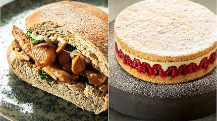 Gardus duetas: sotus sumuštinis su vištiena ir avietinis tortas su pistacijų kremu
