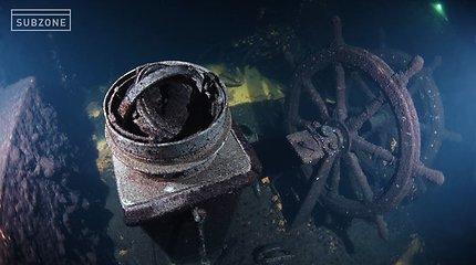 """Unikalūs vaizdai: po vandeniu įamžintas laivas """"Prezidentas Smetona"""""""