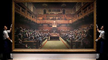 Parlamentą su šimpanzėmis vaizduojantis Banksy paveikslas parduotas už rekordinę sumą