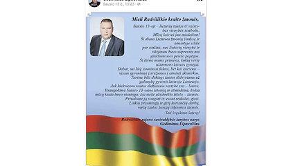 """Kandidato į Radviliškio merus sveikinime – aukštyn kojomis """"suplevėsavusi"""" Trispalvė"""