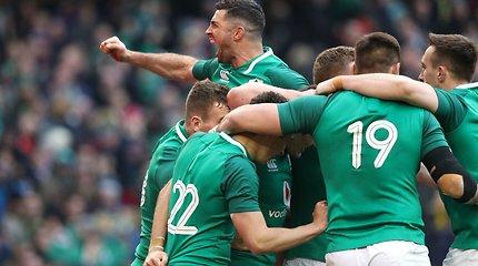 """Po anglų fiasko Airijos regbininkai tapo """"Šešių nacijų"""" čempionais"""