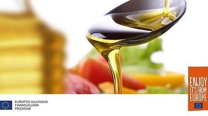 Sotieji riebalai, riebiosios rūgštys, rafinuotas ir nerafinuotas bei kiti užrašai aliejaus etiketėse