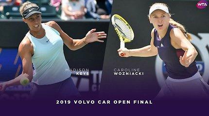 WTA turnyro Čarlstone finalo akimirkos - Madison Keys pergalė prieš Caroline Wozniacki