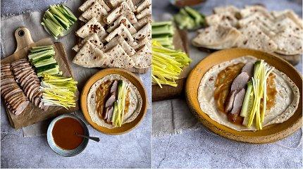 """""""Itsmevelina"""" receptas: blyneliai su Pekino antimi ir daržovėmis"""
