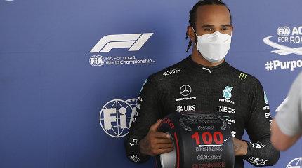 F-1 kvalifikacija Ispanijoje pažymėta jubiliejiniu Lewiso Hamiltono pasiekimu
