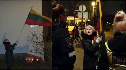 Konfliktas Trispalvės alėjoje: sulaikyta vėliava mosikavusi aktyvi diplomato K.Škirpos gynėja