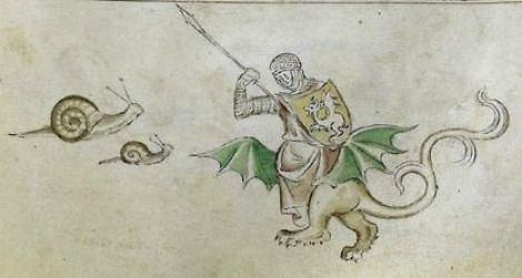 Britų bibliotekos pav./Riteris, kovojantis su sraige, 1310-1320 m. knyga