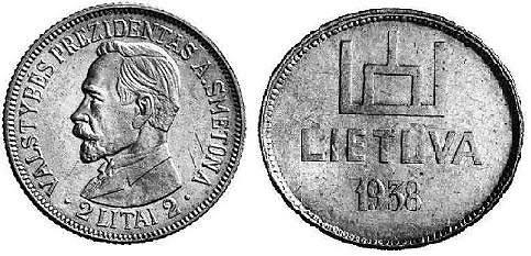 Colnect.com nuotr./2 litų monetos bandinys su Vyčiu