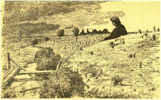 Prano Žitkevičiaus pieš. XIX a. pabaigoje/Per 123 okupacijos metus (1795 -1918) miškingumas, o kartu stambiųjų žvėrių buveinės, Lietuvos teritorijoje sumažėjo dvigubai – nuo 40 iki 20 proc.
