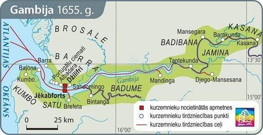 Praeitiespaslaptys.lt nuotr. /Kuržemės kolonija Gambijoje 1655 m. latviškame geografijos atlase