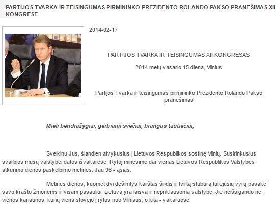 """15min nuotr./Rolando Pakso kalba iš partijos kongreso – vieninitelis įrašas """"tvarkiečių"""" svetainėje, susijęs su 2014 m. vasario 15-17 d. renginiais"""