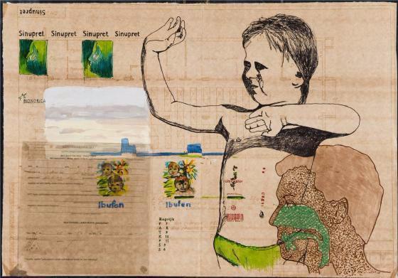 Ligos istorija V / J.Kyzikaitė / 2009, popierius, mišri technika, siuvinėjimas, 42,5 x 59 cm