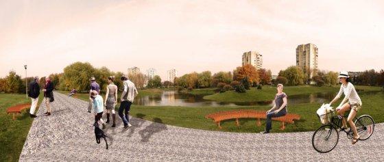 Architektas Edgaras Janutauskas siūlo šalia tvenkinio sukurti specialias vietas piknikams.