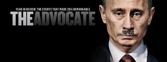 """Žurnalo """"The Advocate""""/""""Facebook"""" nuotr./Vladimiras Putinas ant """"The Advocate"""" viršelio"""