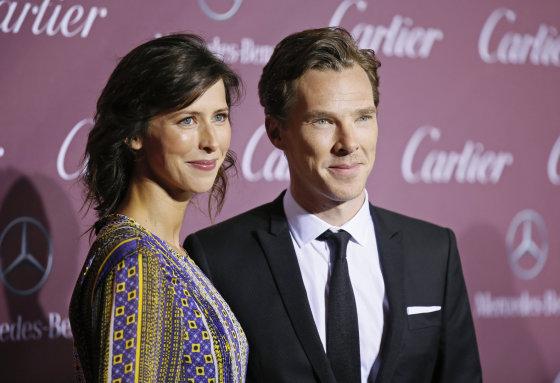 """Reuters""/""Scanpix"" nuotr./Benedictas Cumberbatchas ir Sophie Hunter"