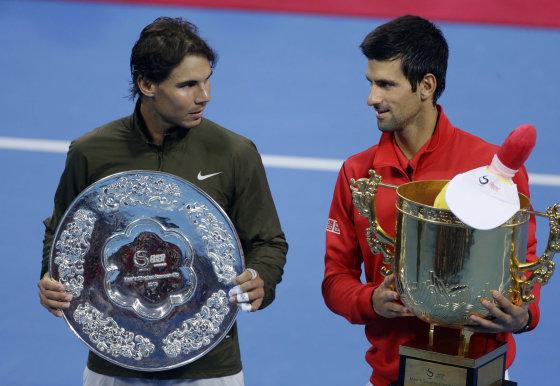 """AFP/""""Scanpix"""" nuotr./Rafaelis Nadalis ir Novakas Džokovičius"""