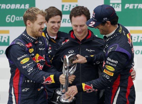 """""""Scanpix"""" nuotr./Sebastianas Vettelis, Christianas Horneris ir Markas Webberis"""