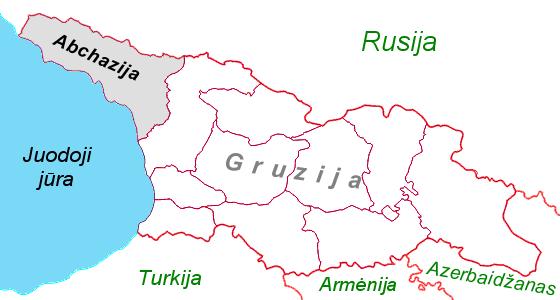 Abchazija Gruzijos žemėlapyje