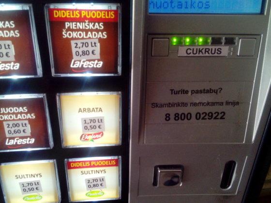 Skaitytojo nuotr./Kavos aparato kainos eurais ir litais netiksliu kursu