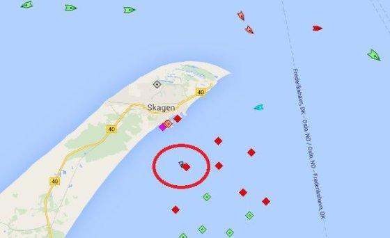 """Marinetraffic iliustr./Laivas-saugykla """"Independence"""" – šiaurės Danijoje prie Skageno"""