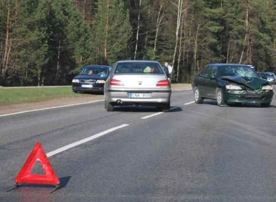 Dainiaus A./15min.lt skaitytojo nuotr./Avarinis ženklas avarijos vietoje.