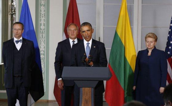 """""""Reuters""""/""""Scanpix"""" nuotr./JAV prezidentas Barackas Obama ir Lietuvos prezidentė Dalia Grybauskaitė"""
