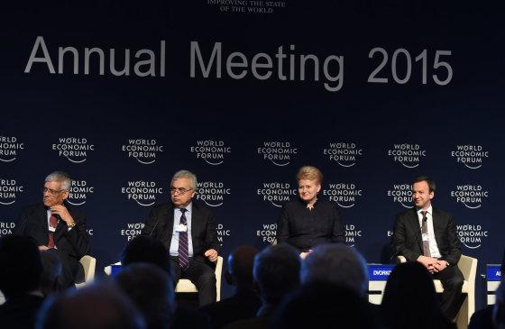 LR Prezidento kanceliarijos/R. Dačkaus nuotr./Lietuvos prezidentė Dalia Grybauskaitė Pasaulio ekonomikos forume, Davose.