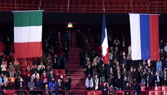 Per ceremoniją nukrito Prancūzijos vėliava