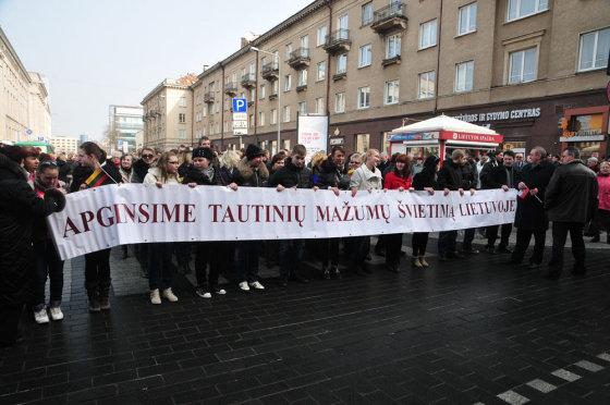 Andriaus Vaitkevičiaus/15min.lt nuotr./Lenkų protesto akcija Vilniuje