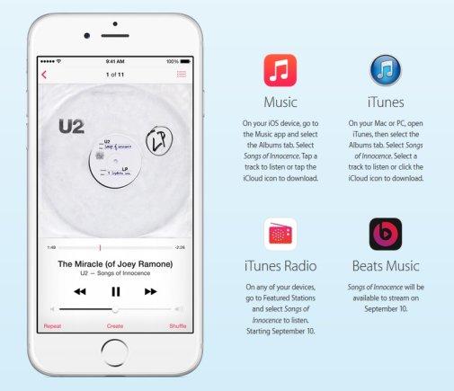 """Instrukcija, kaip parsisiųsti U2 albumą """"Songs of Innocence"""""""