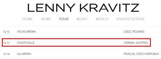 Lenny Kravitzo koncertų turo datos