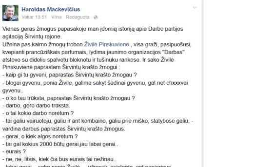 """Haroldo Mackevičiaus įrašas """"Facebook"""""""