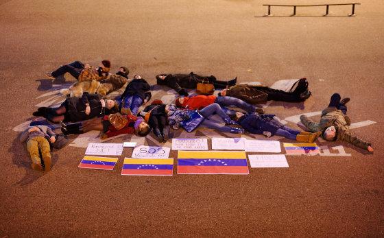 Tomo Lukšio nuotr./Vilniuje surengta Venesuelos palaikymo akcija