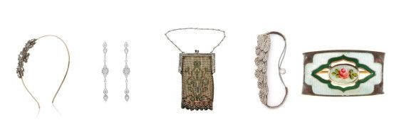 """""""Shutterstock"""" nuotr./Iš kairės: """"Accessorize"""" lankelis, """"Louisa Via Roma"""" auskarai, Art Deco stiliaus """"Chairish"""" rankinukas, Deppa Gurnani galvos aksesuaras, vintažinė Alice Joseph delninukė."""