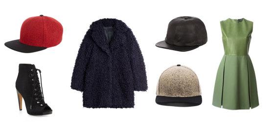 """Gamintojų nuotr./Iš kairės: raudona """"Rag & Bone"""" kepurė, Sam Edelman suvarstomi aukštakulniai, """"Zadig & Voltaire"""" paltas, juoda odinė Eugenia Kim kepurė su snapeliu, smėlio spalvos """"Rag & Bone"""" kepurė, žalia """"Gucci"""" suknelė su odine krūtinės dalimi."""