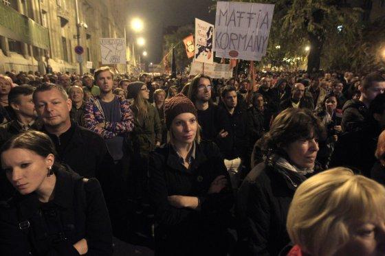 """""""Reuters""""/""""Scanpix"""" nuotr./Protestas Vengrijoje, Budapešte"""