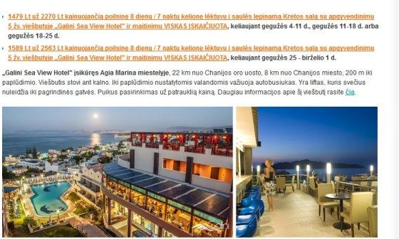 Štai tokiais pasiūlymais susiviliojo vilniečiai, planavę atostogas Kretoje
