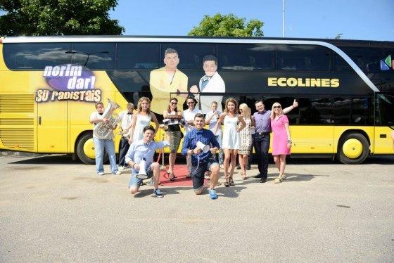 Ecolines nuotr./Naują autobusą pirmieji išbandė pramogų pasaulio atstovai