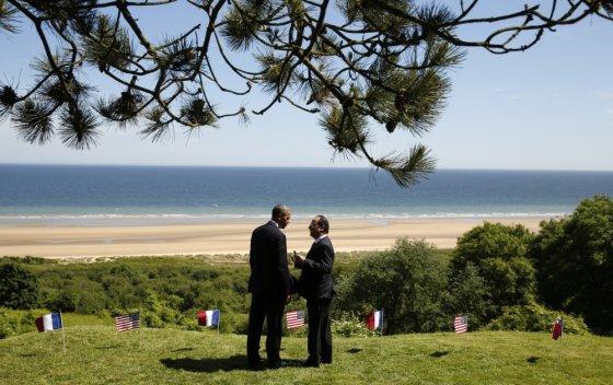 """Scanpix"" nuotr./Barackas Obama ir Francois Hollande'as Normandijoje"