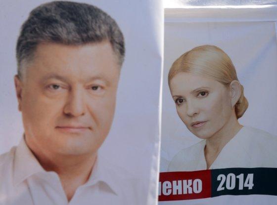 """""""Scanpix"""" nuotr./Ukrainos prezidento rinkimų favoritai Petro Porošenka ir Julija Tymošenko"""