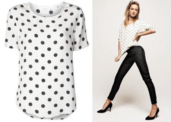 Iš kairės: medvilniai Equipment marškinėliai iš fartech.com; Mango 2012 m. katalogo nuotr.