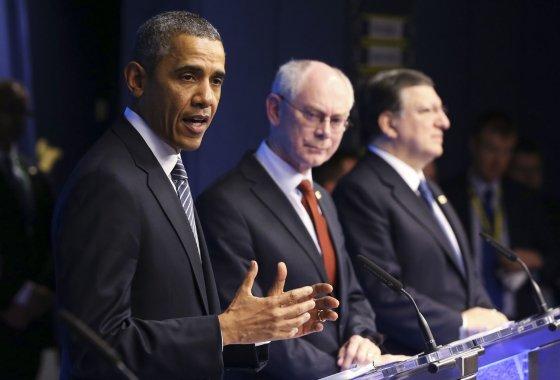"""""""Reuters""""/""""Scanpix"""" nuotr./Barackas Obama ES ir JAV viršūnių susitikime Briuselyje"""