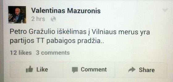 """Valentino Mazuronio pareiškimas """"Facebook"""" tinkle"""