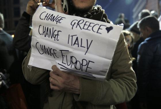 """""""Scanpix""""/AP nuotr./Rinkimų rezultatų laukimas Graikijoje"""