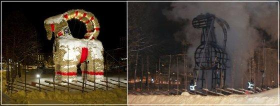 Šiaudinis ožys Švedijoje nesulaukė švenčių