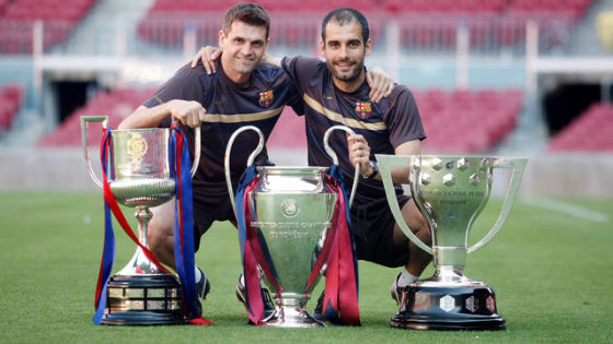 """Reuters""/""Scanpix"" nuotr./Tito Vilanova ir Josepas Guardiola"