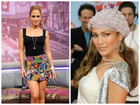 """""""Scanpix"""" nuotr./Jennifer Lopez (kairėje 2014 m., dešinėje - 2004 m.)"""